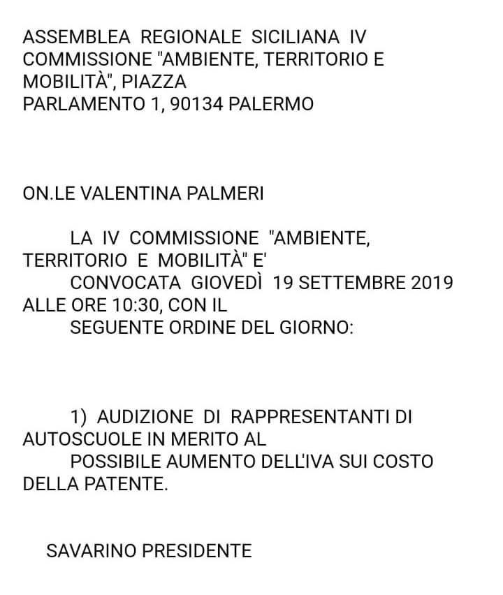 """Audizione dei rappresentanti di autoscuole in IV Commissione """"Ambiente Territorio e Mobilità"""""""