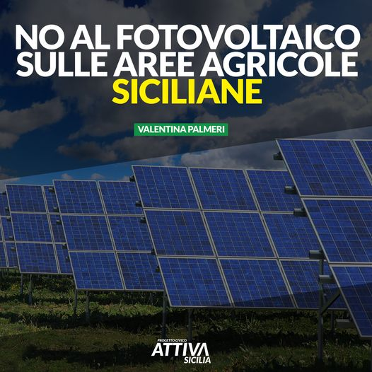 No al Fotovoltaico sulle aree agricole siciliane